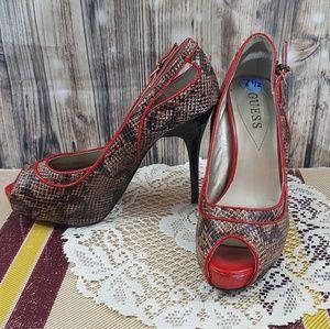GUESS snakeskin print heels size 7.5